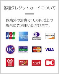 各種クレジットカードについて 保険外の治療で10万円以上の場合にご利用いただけます。